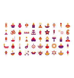 Bundle fifty diwali set flat style icons vector