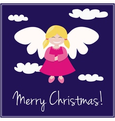 Card or invitation for Christmas with angel vector