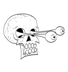 cartoon image of ancient spooky skull vector image