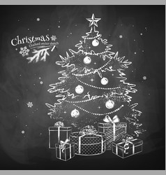 Chalk sketch of christmas tree vector