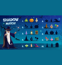 Child halloween shadow match game template vector