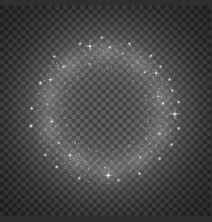 Circle of glitter particles white color vector