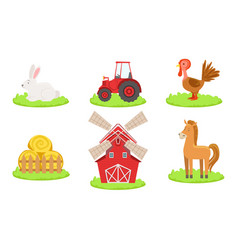 collection farm animals such as rooster horse vector image
