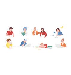 Collection of teenage boys and girls sitting vector