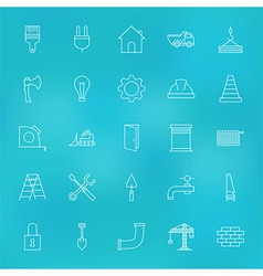 Construction Tools Line Icons Set over Blurred vector image