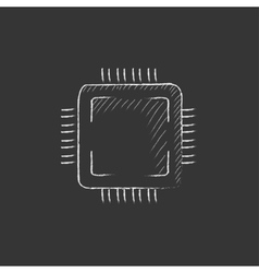 CPU Drawn in chalk icon vector