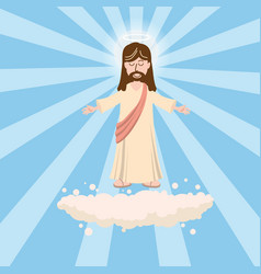 Cute god smiles with love with open arms a nimbus vector