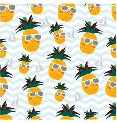 Cute pineapple summer seamless pattern vector