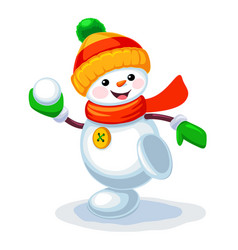 cute snowman playing snowballs isolated on white vector image