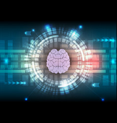 Digital technology and brain abstract background vector