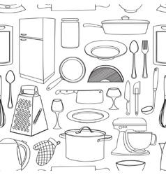 Doodle pattern kitchen vector