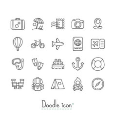 doodle travel icons vector image