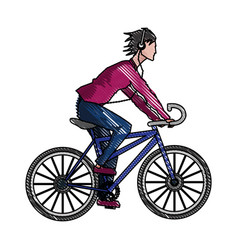 Drawing guy riding bike with headphones vector
