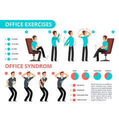 Employee doing office exercises desk medical vector