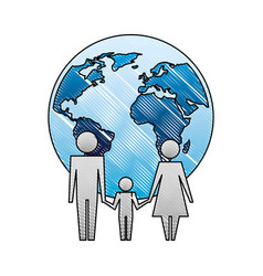 family unity holding hands world planet vector image