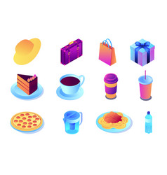 Fast food and drink shopping isometric 3d vector