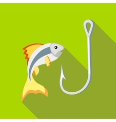 Fish and hook icon flat style vector image