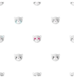 Flat cartoon cat heads with different vector