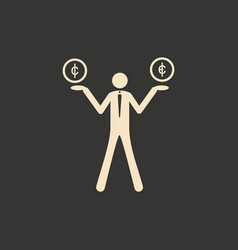 flat in black and white people with coins on hands vector image