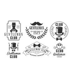 Gentleman club vintage logo templates set retro vector