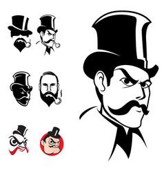 gentlemen head set vector image