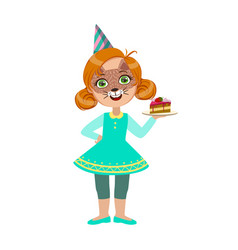 girl in cat mask with cake piece part of kids at vector image