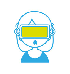 girl with 3d glasses to virtual video game vector image