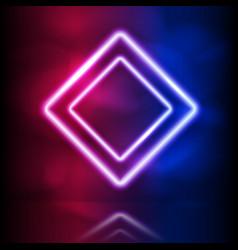 Glowing neon rhombus double frame glowing vector