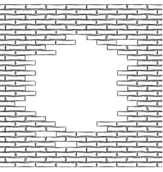 graphic brick wall drawn in engraving vector image