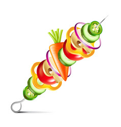 Grilled vegetables vegan kebab isolated vector