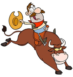 Happy Cowboy Riding Bull In Rodeo vector
