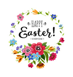 Happy easter card with lettering and flowers vector
