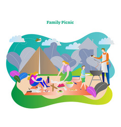 Happy family picnic vector