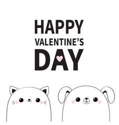 Happy valentines day cat dog face contour vector