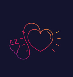 Heart with electric plug line icon vector