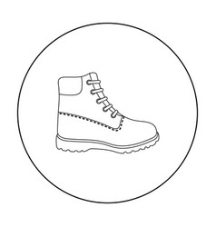 hiking boots icon in outline style isolated on vector image