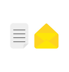 icon concept of written paper with opened mail vector image