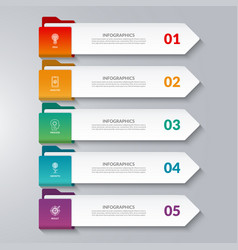 Infographic arrows 5 options steps parts vector