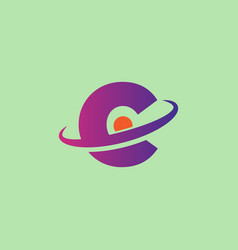 initial c planet logo template and inspirationfox vector image