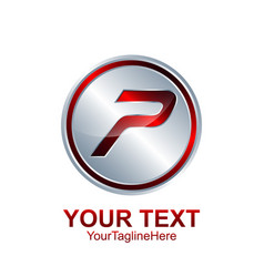 Initial letter p logo template colored red silver vector