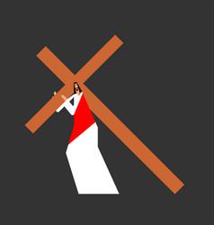 Jesus carry cross gods son biblical religious vector