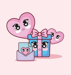 kawaii gift box and hearts vector image