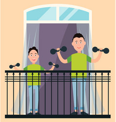 keeping fit and training muscles at home concept vector image