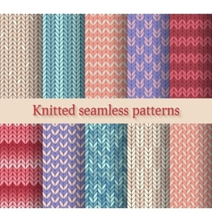 knitted seamless patterns set vector image