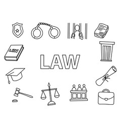 law doodle art with outline style hand drawn vector image