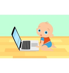 Little boy is playing with laptop vector image
