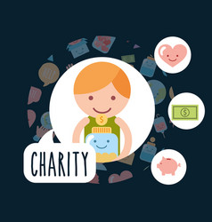 Little boy with jar glass coins piggy charity vector