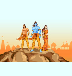 Lord rama sita and laxmana in dussehra poster vector