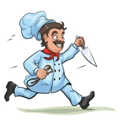 Male Chef runs with knife and rope vector