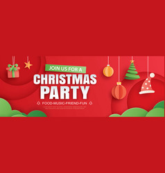 merry christmas party invitation card with object vector image